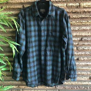 Pendleton Blue Gray Shadow Plaid Lodge Wool Shirt